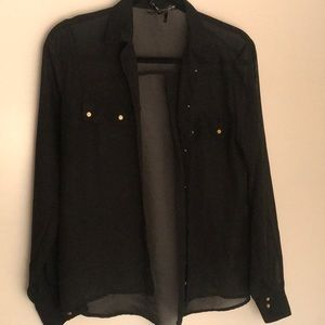 sheer black blouse w/ gold buttons